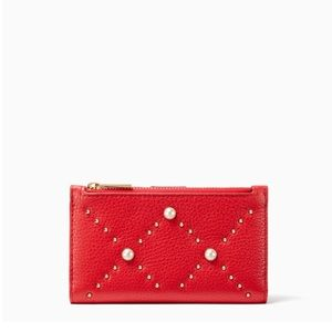 New Kate Spade Hayes Street Mikey Pearl Wallet Red